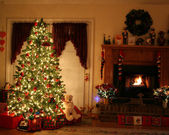 Christmas and Fire Place — Stock Photo