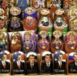 Russian political matrioshka dolls in baku azerbaijan market - Stock Photo