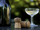 Winebottle, glass and cork in bordeaux france — Stock Photo