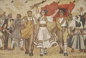 Albanian nationalistic mural in tirana albania — Stock Photo