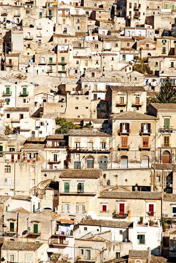Houses in the old town of modica sicily — Stock Photo #6768538