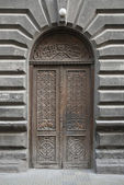 Traditional carved wood door in yerevan armenia — Stock Photo