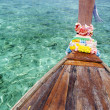 Tropical island sea water and thai boat — Stock Photo
