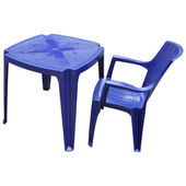 Plastic table and chair isolated — Stock Photo