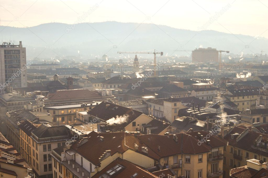 City of Turin (Torino) skyline panorama birdeye seen from above — Stock Photo #6828796