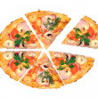 Tasty Italian pizza over white — Stock Photo