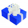 Royalty-Free Stock Photo: Blue gift box with bow isolated on white