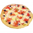 Stock Photo: Pizza with olives and tomatoes closeup