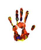 Colorful hand print on white background — Stok fotoğraf