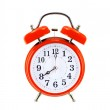 Red vintage alarm-clock isolated on white background — Stock Photo