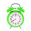 Green vintage alarm-clock isolated on white background — 图库照片