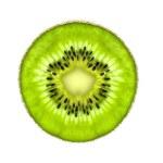 Closeup of kiwi slice isolated on white background — Stock Photo