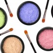 Colorful cosmetics eyeshadows in box and brushes isolated on whi — Stock Photo