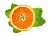 Fresh orange slice and leaves of mint isolated on white — Stock Photo