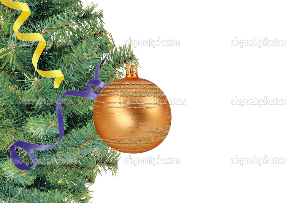 Christmas concept with baubles and new year tree on white — Stock Photo #7680565