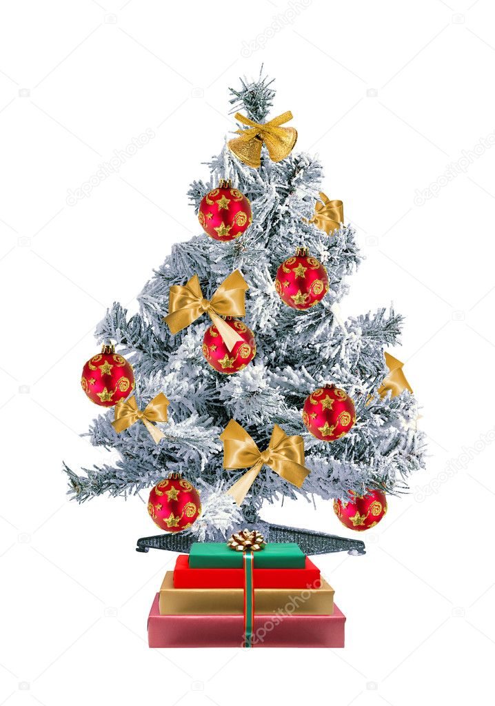 Christmas tree and gift boxes isolated on the white background — Stock Photo #7680567
