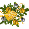 Christmas concept with decoration balls and giftbox — Stockfoto