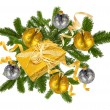 Christmas concept with decoration balls and giftbox — Stock Photo
