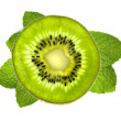 Fresh kiwi slice over mint leaves isolated on white background — Stock Photo #7727994