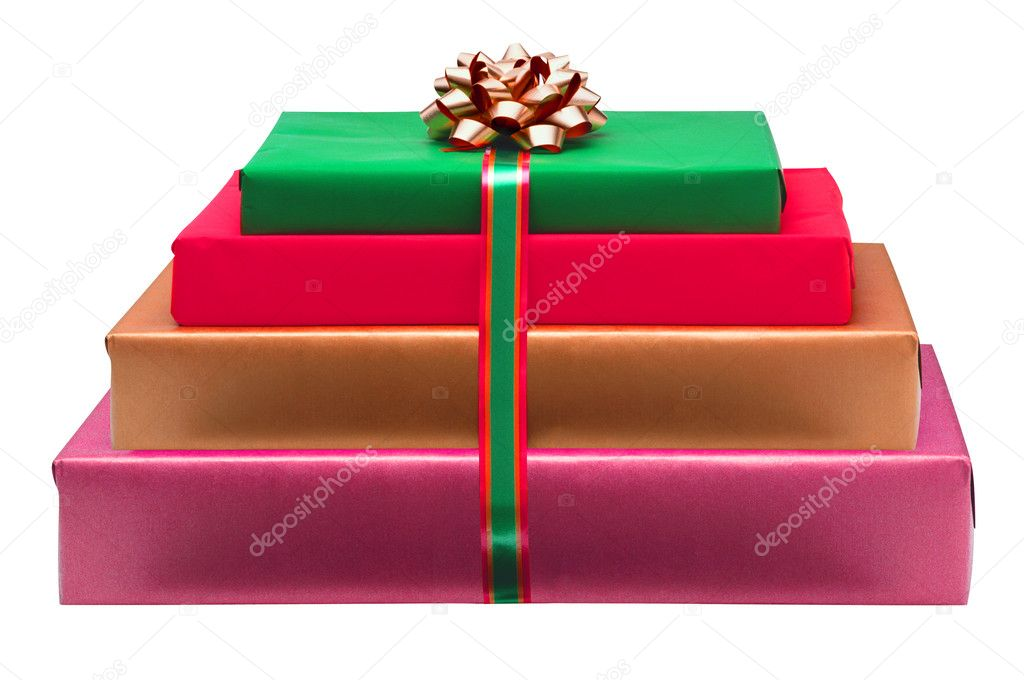 Christmas colorful gift boxes with bow isolated on white — Stock Photo #7727969