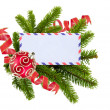 Photo: Blank postcard, Christmas balls and fir-tree isolated on white b