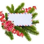 Blank postcard, Christmas balls and fir-tree isolated on white b — Stock Photo
