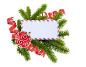 Blank postcard, Christmas balls and fir-tree isolated on white b — Stock Photo