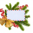 Stock Photo: Christmas card, bells and fir-tree isolated on white background