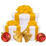 bellissimi regali luminosi e decorazione di Natale isolato su Pentecoste — Foto Stock