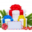 Stock Photo: Christmas Gift Boxes, Decoration Balls and Tree Branch isolated