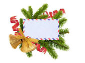 Christmas card, bells and fir-tree isolated on white background — Stock Photo