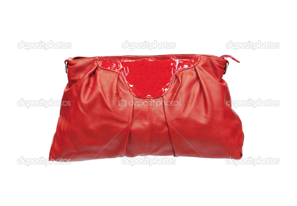 Beautiful red makeup (cosmetics) bag isolated on white — Stock Photo #7909396