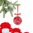 Christmas ball on the tree and gift boxes on white background — Stock Photo #7945913