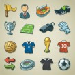 freehands iconos - fútbol — Vector de stock