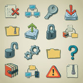Freehands icons - computer security — Stock Vector