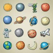 Iconos de freehands - planetario — Vector de stock