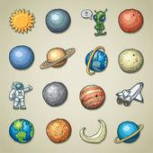 Icônes freehands - planétarium — Vecteur
