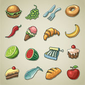 Freehands icons - food — Stock Vector