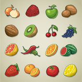 Freehands icons - fruits and vegetables — Stock Vector