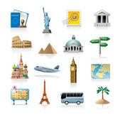 Jeu d'icônes de voyage — Vecteur