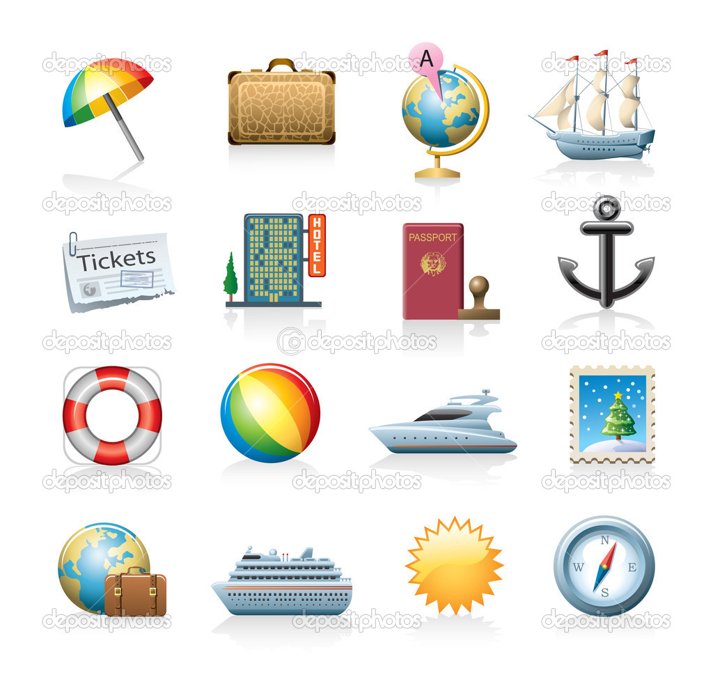 Travel related vector icon set isolated on white — Stock Vector #6815063