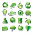 Assortment of illustrated green ecology or environmental icons. — Stock Vector