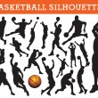 Stock Vector: Basketball silhouettes