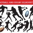Rugby and football silhouettes - Stock Vector