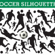 Soccer silhouettes — Stock Vector