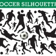 Soccer silhouettes — Stock Vector #6826397
