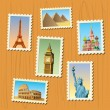 An amazing illustration of world famous travel destinations - Imagen vectorial