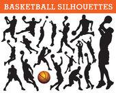 Basketball silhouettes — Stock Vector