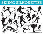 Skiing silhouettes — Stock Vector