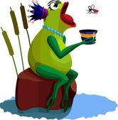 Queen frog — Stock Vector
